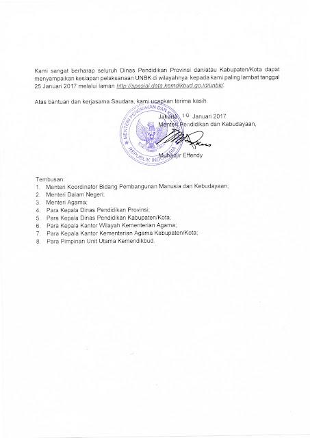 Surat Edaran Mendikbud Nomor 1 Tahun 2017 Tentang Pelaksanaan Ujian Nasional (UN) Tahun Ajaran 2016/2017