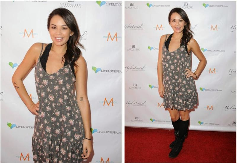 Janel Parrish wearing Lulu*s Let it Flow Grey Floral Dress