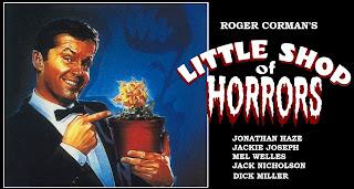 Cartel promocional de La pequeña tienda de los horrores con Jack Nicholson
