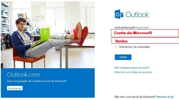 Entrar direto no e-mail Outlook