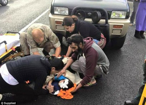 The viral image of Harman Singh using his turban to help a child bleeding on the road