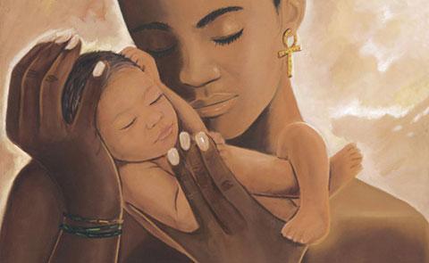Imagen tierna de mujer y bebé