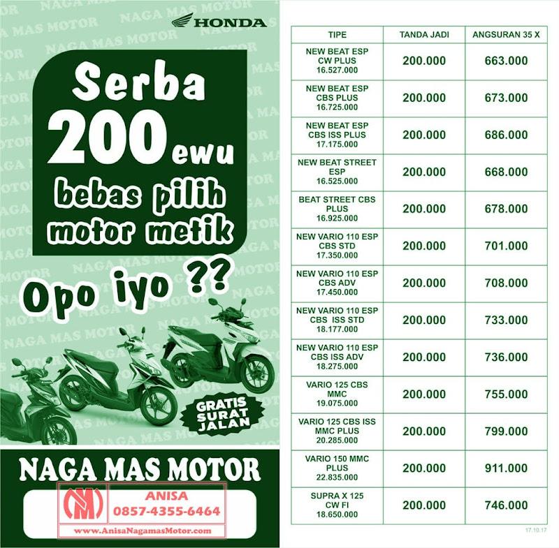 Promo Naga Mas Motor Honda Kredit New Honda Beat Vario Supra X 125 DP RIngan 200Rb