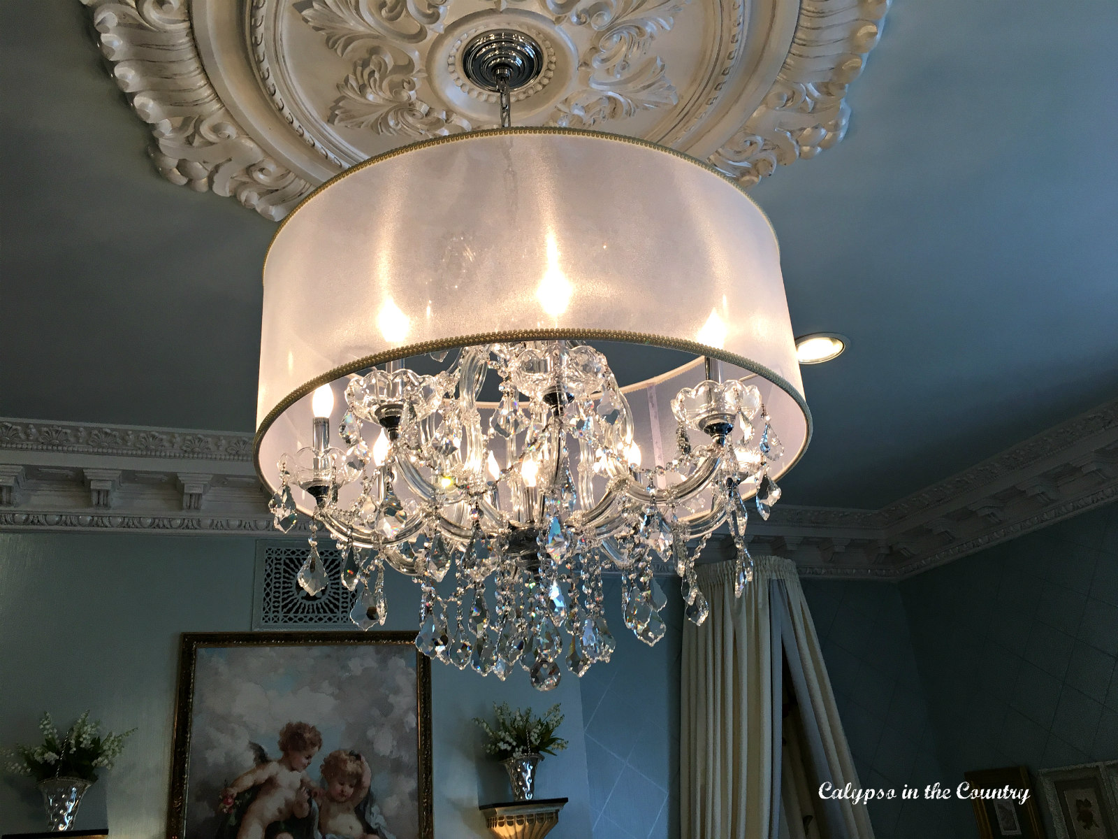 Crystal chandelier in a nursery
