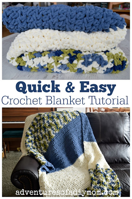 Quick and Easy Crochet Blanket Tutorial perfect for beginners or crocheters who want a project they can complete fast!