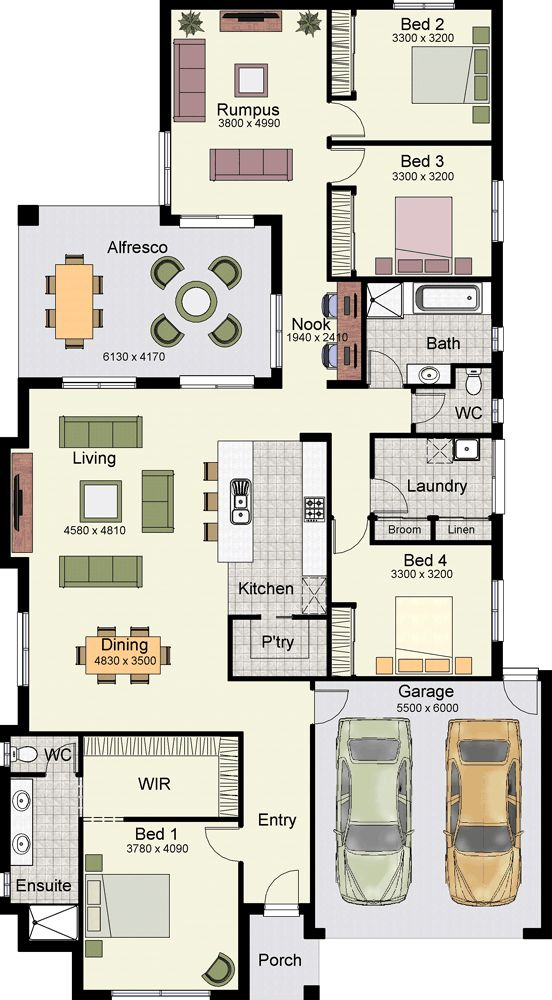 One story 4 Bedrooms house plan