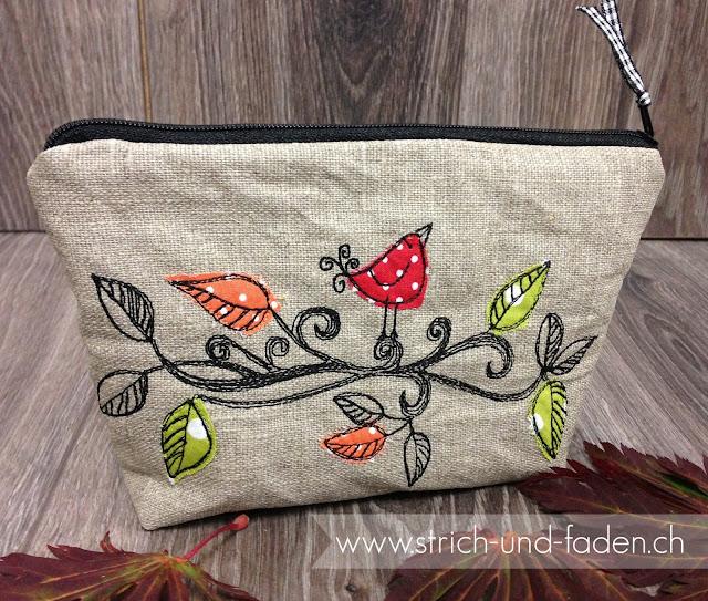 mit Strich und Faden: Necessaire mit Stickerei Vogel auf Baum | Herbst |Doodle