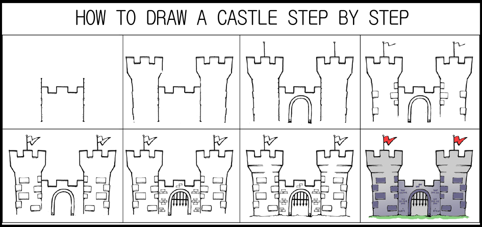 DARYL HOBSON ARTWORK: How To Draw A Castle Step By Step