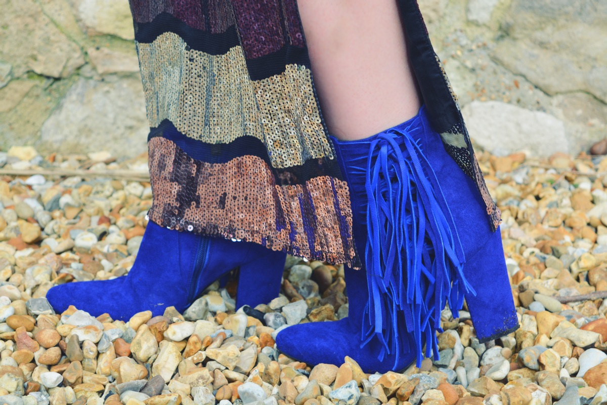 Ted & Muffy Oriole Blue Fringed Ankle Boots