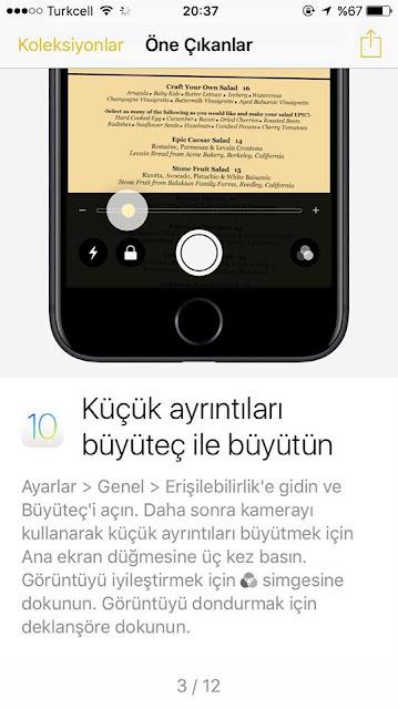 iPhone 7 Büyüteç özelliğini kullanma