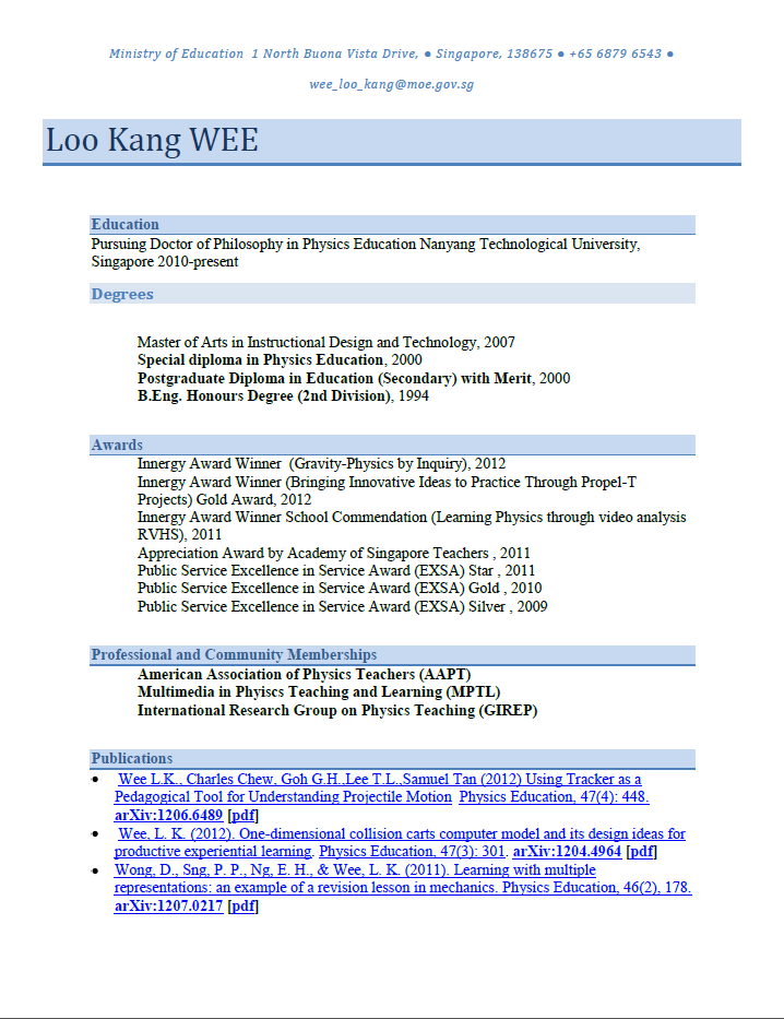 one page cv template from msword open source physics singapore