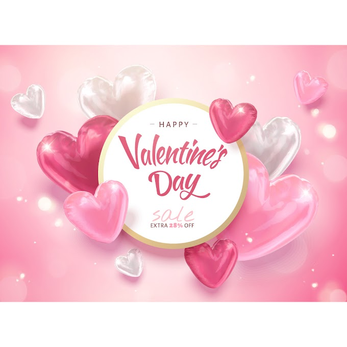 Valentine sale card and air heart balloons free vector