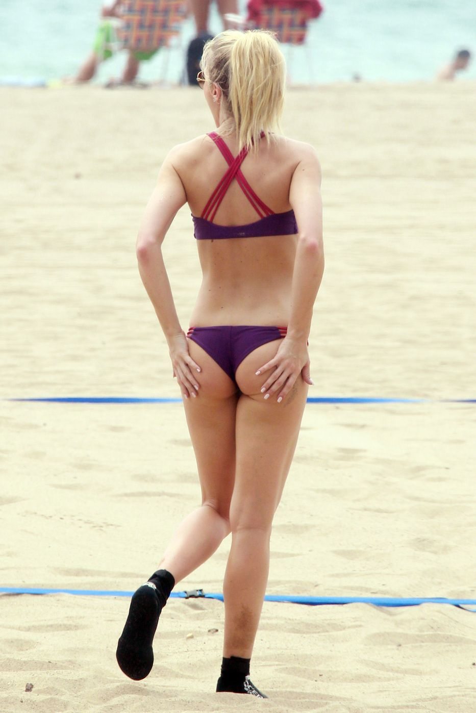 In bikini Elle Evans on Malibu Beach