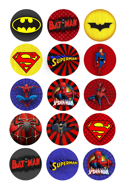 Superheroes Free Printable Toppers, Labels or Stickers.