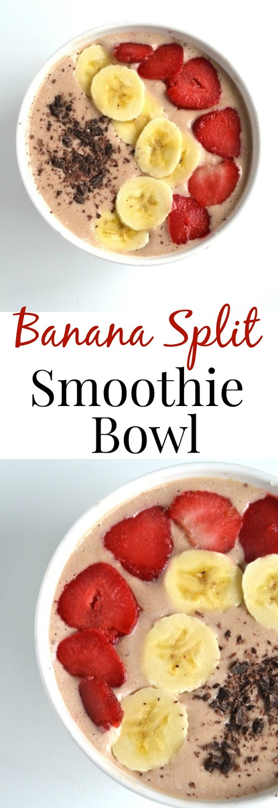 This Banana Split Smoothie Bowl tastes like your favorite dessert but is much healthier! It has banana, strawberries and chocolate to make it just like a banana split! www.nutritionistreviews.com