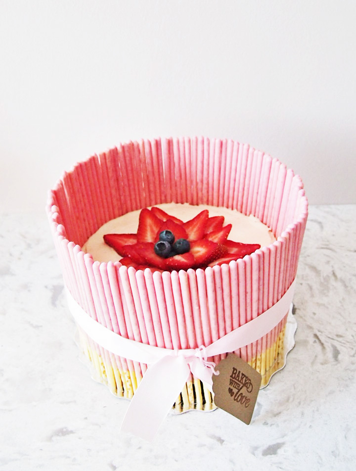 Quick and Easy Valentine's Day Strawberry Pocky Cheesecake