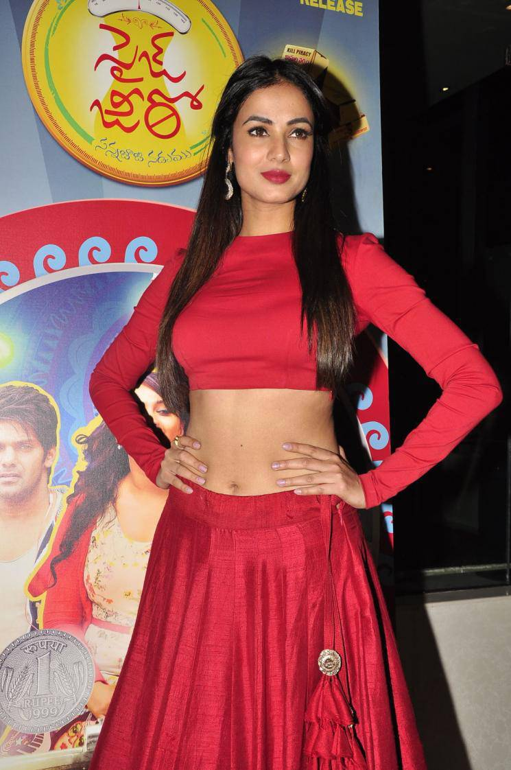Actress Sonal Chauhan Navel Hip Stills In Red Dress