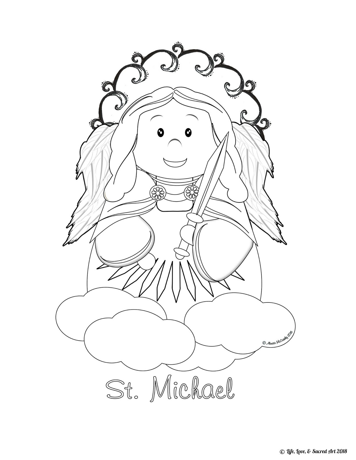 Life, Love, & Sacred Art: FREE Cute St. Michael Coloring Page