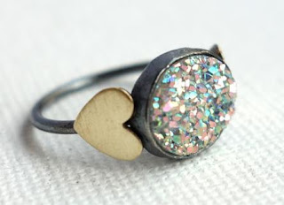 Snow White Drusy with Hearts Ring by Rachel Pfeffer. Via Diamonds in the Library.
