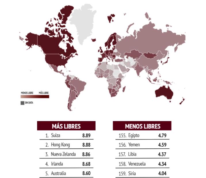 Mapa de libertades en el mundo / INFOGRAM ELCATO.ORG