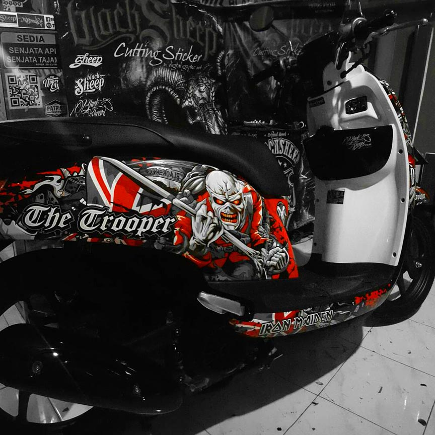 Honda scoopy iron maiden cutting sticker dark red