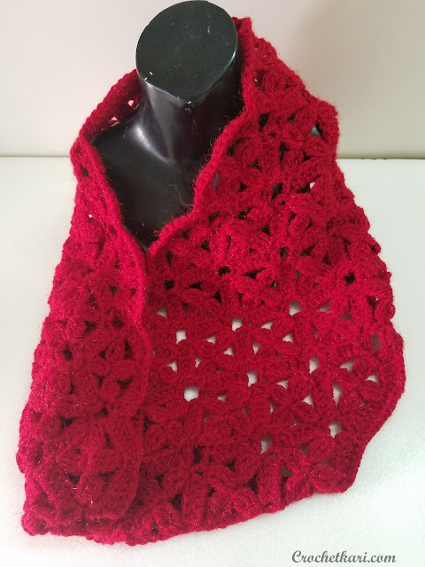 Flowers in my window crochet cowl pattern by Crochetkari details