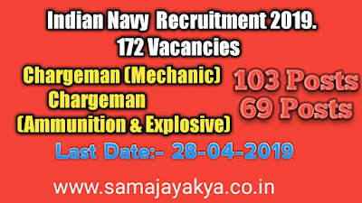 Indian Navy  Recruitment 2019,chargeman mechanic indian navy,indian navy