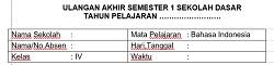 Soal UAS 1 Bahasa Indonesia SD MI Kelas 4 Dan Kunci Jawabannya