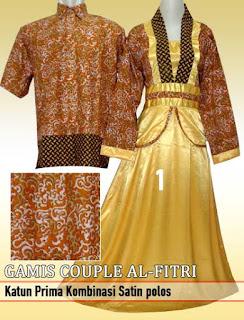 Gamis batik couple kombinasi terbaru
