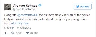 Virender Sehwag Tweet on Ravichandra Ashwin