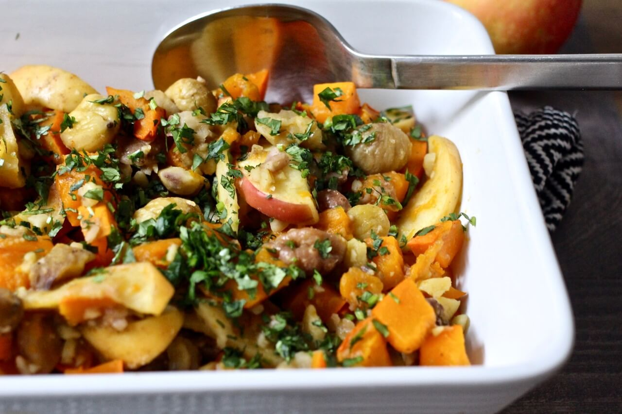 Rezept für Kürbis-Eintopf mit Kastanien und Apfel
