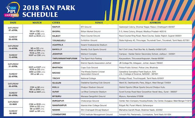 VIVO IPL 2018 Fan Park Schedule Image-1