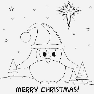 Free fun cartoon winter bird easy drawing ideas for teenagers cute Christmas card pictures to colour
