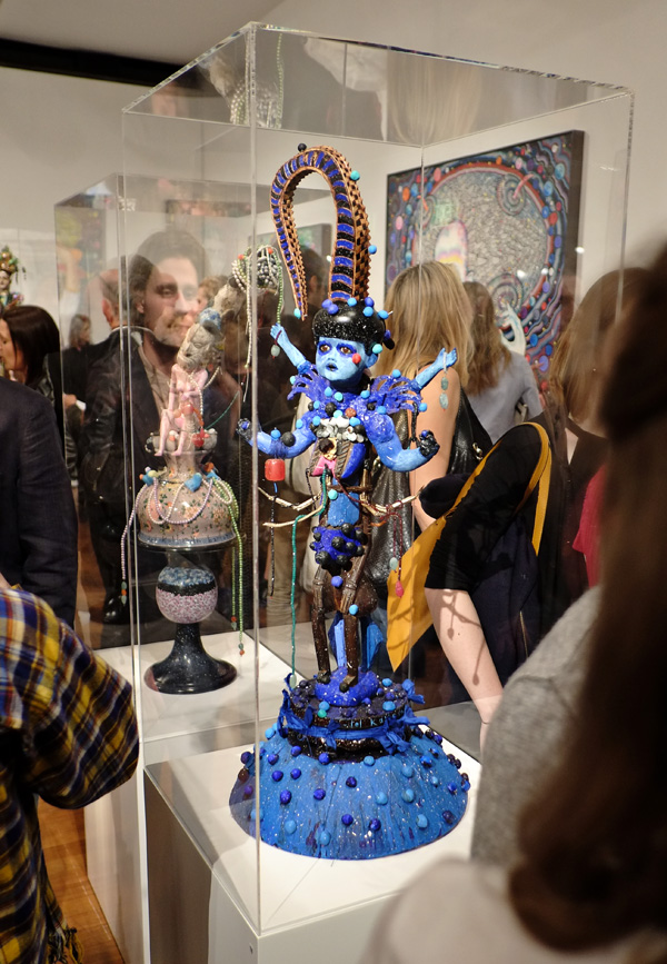 A Kali inspired sculpture. Opening night crowd at Roslyn Oxley9 gallery for 'angel dribble' by Del Kathryn Barton.