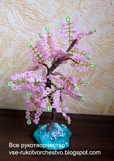 Дерево сакура из бисера