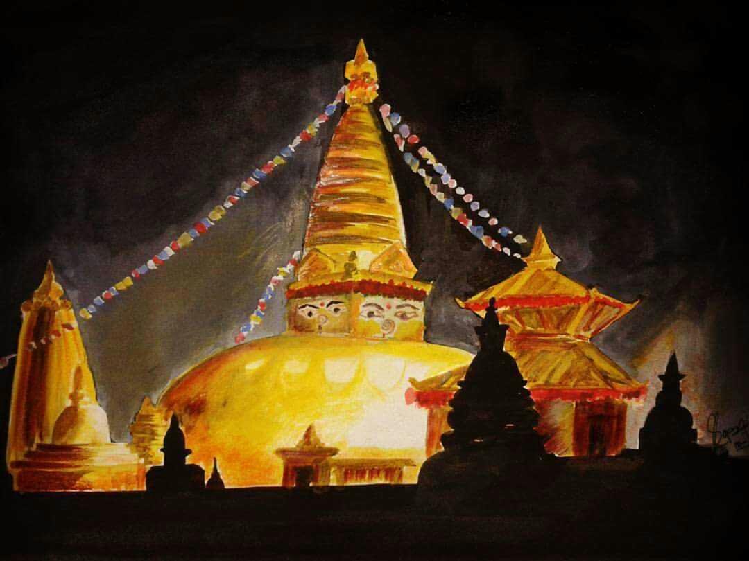 Beautiful Painting of Swyambhunath by Mahendra Khadka