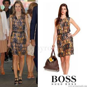 Queen Letizia wore Hugo Boss Printed Dress