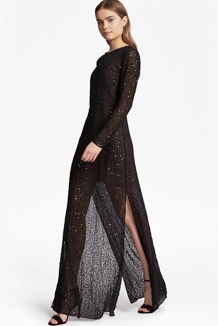 french connection black glitter dress, black glitter maxi dress