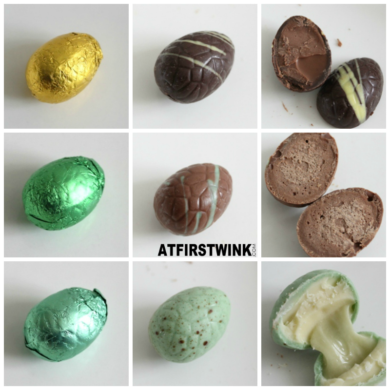 Albert Heijn Chocodelice chocolate eggs dark walnut praline milk chocolate crispy milk pistachio fondant