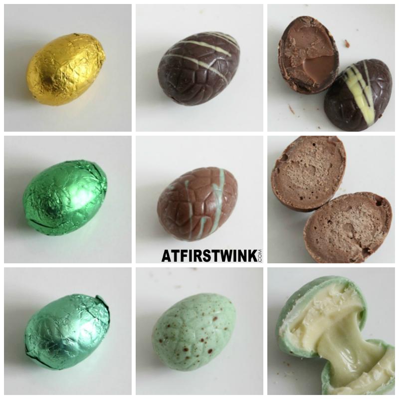 Albert Heijn Chocodelice chocolate eggs dark walnut praline milk chocolate crispy milk pistachio fondant