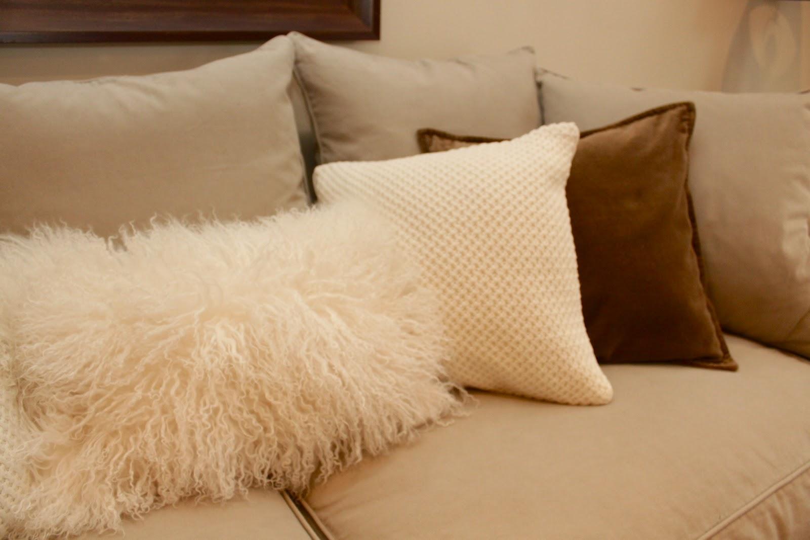 White Fluffy Sofa Cushions Tandom Sleeper Sara Russell Velvet 43 Pillows