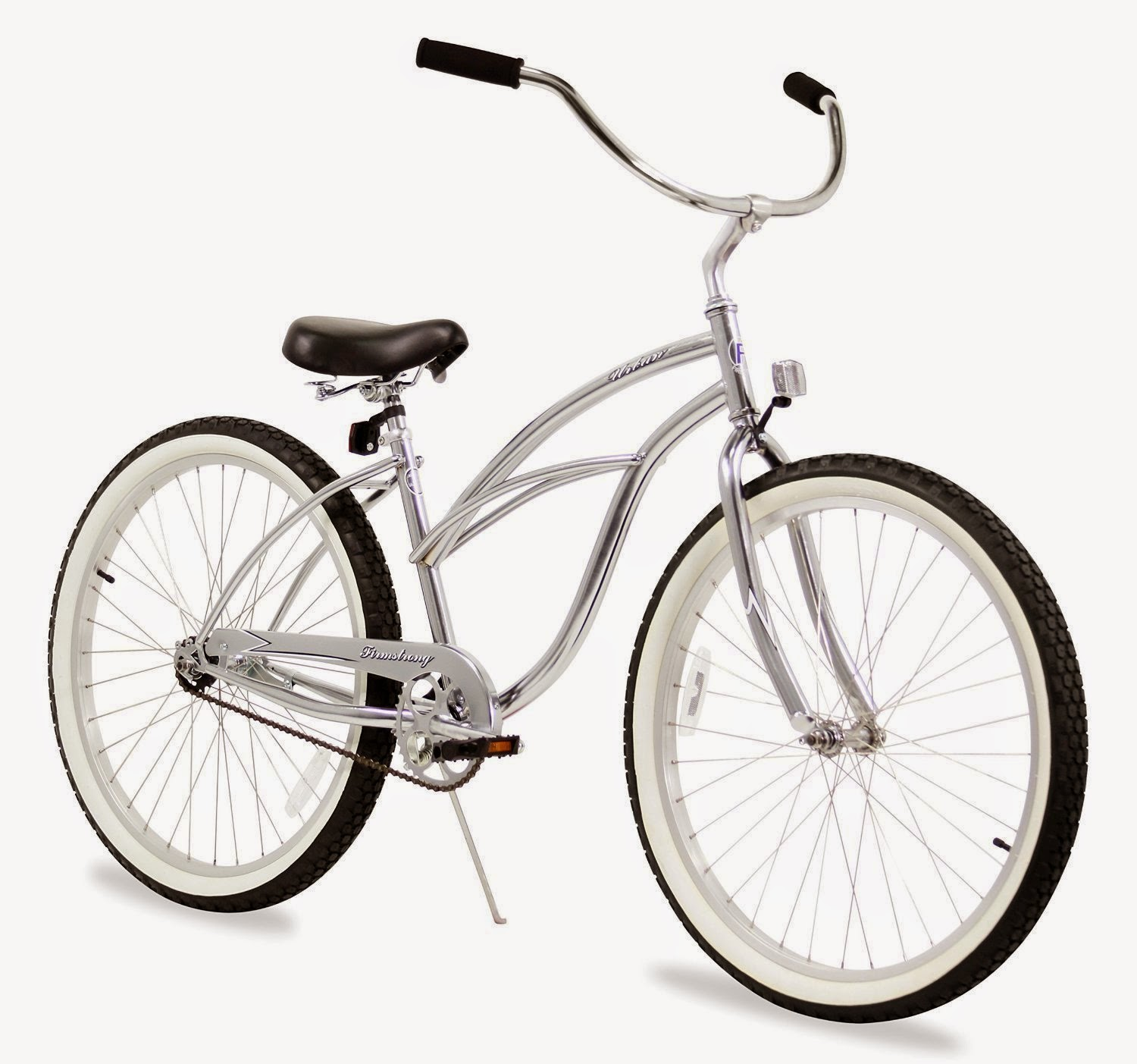 Firmstrong Urban Lady Beach Cruiser bike, single-speed, chrome color, plus choice of other colors, review, easy to use & comfortable bike with swept-back handlebars for upright riding position, coaster brake