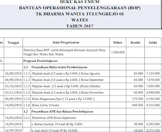 Tampilan laporan dana BOP PAUD tahun ajaran 2017