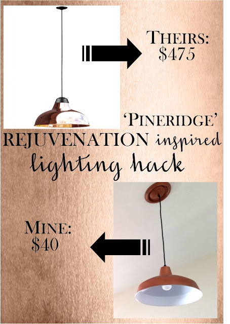 Pineridge Rejuvenation copper warehouse pendant light hack - for $400 less than retail - quick and easy DIY by Sew at Home Mummy