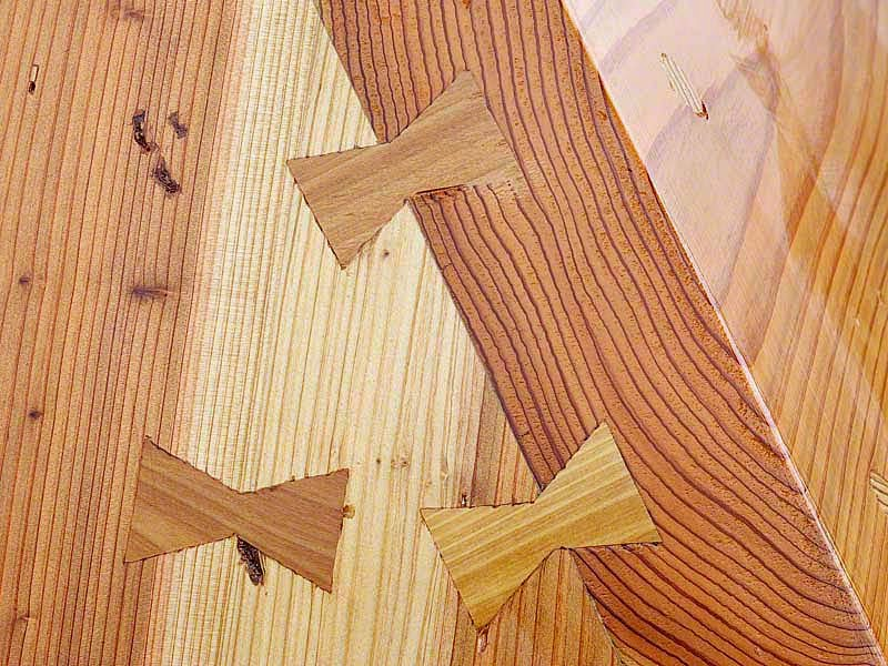 wooden dovetail keys join sabani boat planks
