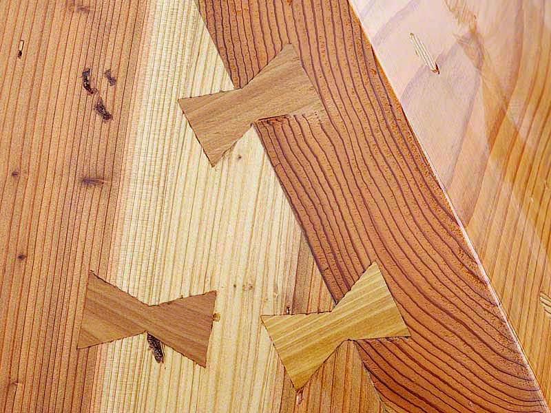wooden dovetail keys join sabani boat planks