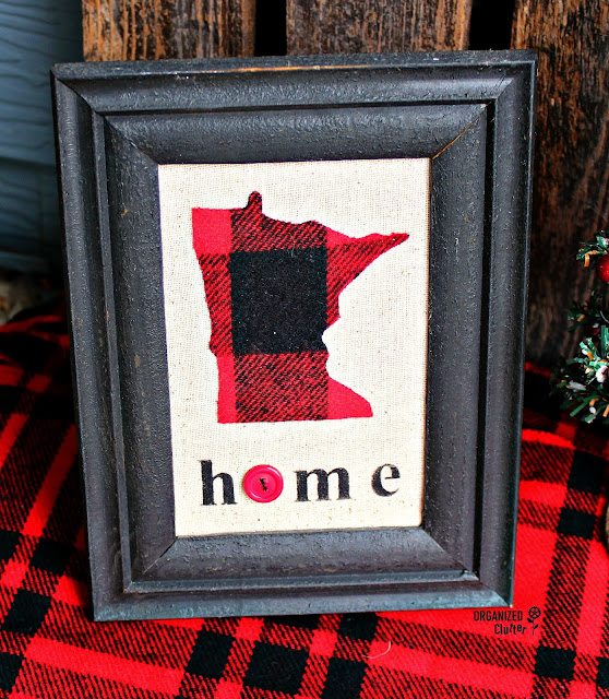 Framed Buffalo Check State Pride Decor #thriftshop #buffalocheck #statepride #stencil
