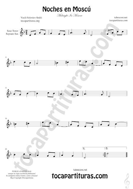 Soprano Sax y Saxo Tenor Partitura de Noches en Moscú Sheet Music for saxophone tenor & Soprano sax