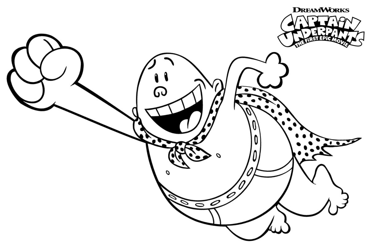 Click to see printable version of Captain Underpants Flying Coloring page