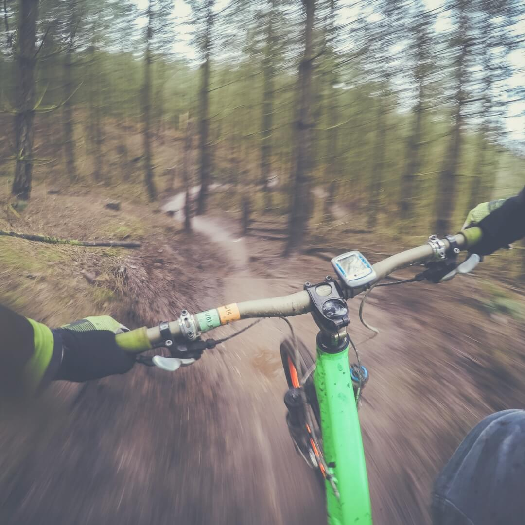 "A photo taken from the POV of the rider of a bicycle. In the photo you can see the handlebars and the hands of the rider. He/she is riding through a wooded area on a muddy path through the trees. The trees are blurred, indicating the rider is travelling fast. Image for ""Post comment Love 23rd - 25th March""."